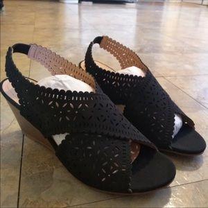 EUC Xoxo Black Wedge Sandals 6